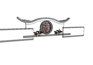 照壁墙、中式景墙、背景墙SU(草图大师)模型