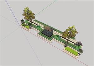 详细的种植池景墙素材设计SU(草图大师)模型