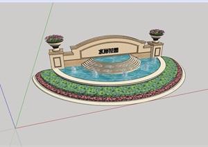详细的水池景墙素材设计SU(草图大师)模型
