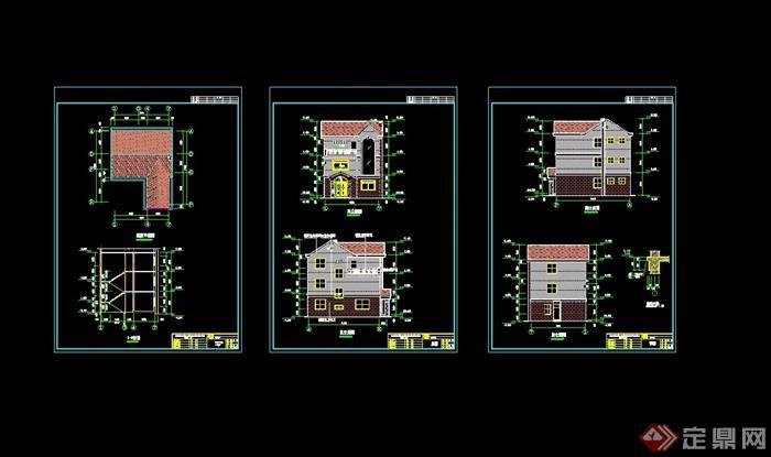 三层新农村别墅设计cad施工图