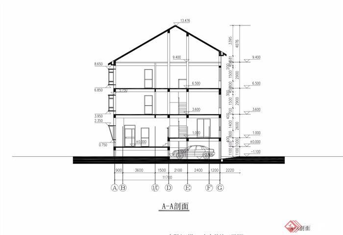 详细的中式三层联排别墅v风水pdf施工图风水环水三别墅面图片