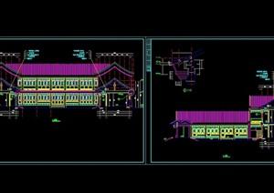 中式两层四合院式办公楼CAD建筑图