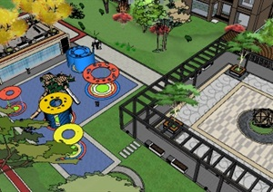 现代中式小区景观设计廊架、儿童游乐设施、休闲广场