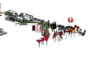雕塑 座椅三十余款商业街小品 商业街外摆座椅