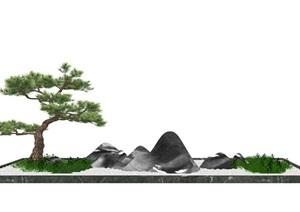 新中式景观小品松树石头SU(草图大师)模型