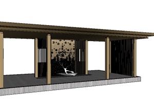 现代中式休闲廊架平台SU(草图大师)模型