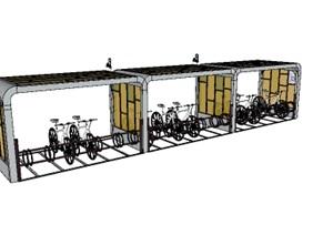 现代自行车停车棚设计SU(草图大师)模型