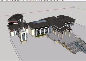 东南亚会所详细完整多层设计SU(草图大师)模型