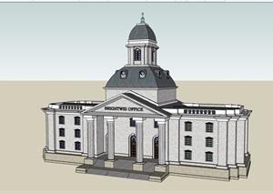 法式风格多层政府办公建筑设计SU(草图大师)模型