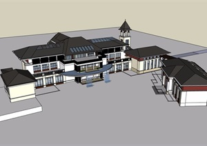东南亚会所详细完整建筑设计SU(草图大师)模型