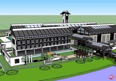 中式詳細的藝術家會館建筑設計su模型