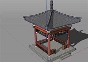 古典中式风格详细的中式凉亭SU(草图大师)模型