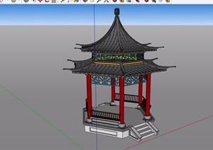 某古典中式风格详细的亭子设计SU(草图大师)模型
