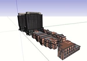新疆商业办公综合体设计SU(草图大师)模型