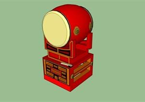 传统中式红鼓SU(草图大师)精致模型