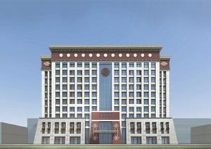 藏式办公楼 SU(草图大师)精细霸气模型帅