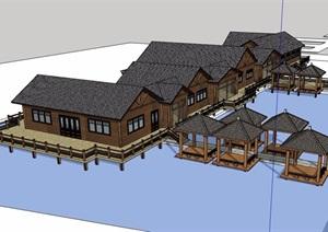 农家乐详细完整多层建筑设计SU(草图大师)模型