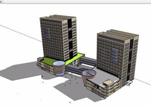 详细的整体商业办公楼设计SU(草图大师)模型