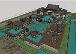东南亚风格详细的完整会所设计SU(草图大师)模型