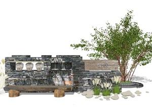 休闲民宿景观墙 景墙 装饰墙 标识SU(草图大师)模型