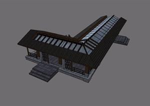 中式会所连廊详细设计SU(草图大师)模型