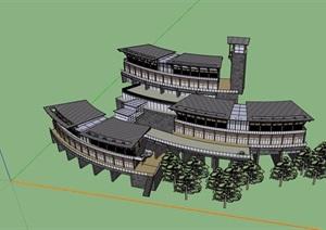 现代风格详细的完整山地酒店设计SU(草图大师)模型