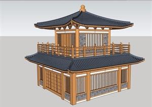 古典中式旅游景区钟鼓楼设计SU(草图大师)模型