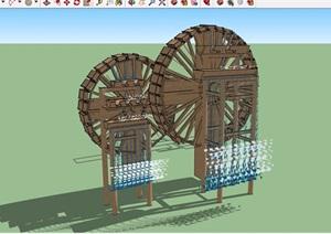 水车小品详细素材设计SU(草图大师)模型