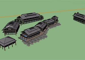 中式风格旅游区建筑设计SU(草图大师)模型