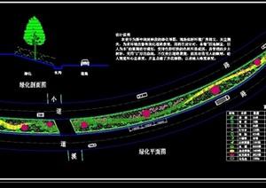 某街道新中线延伸段绿化cad平面图