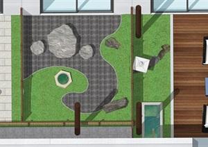 日式庭院小品 休闲椅 石头 植物SU(草图大师)模型