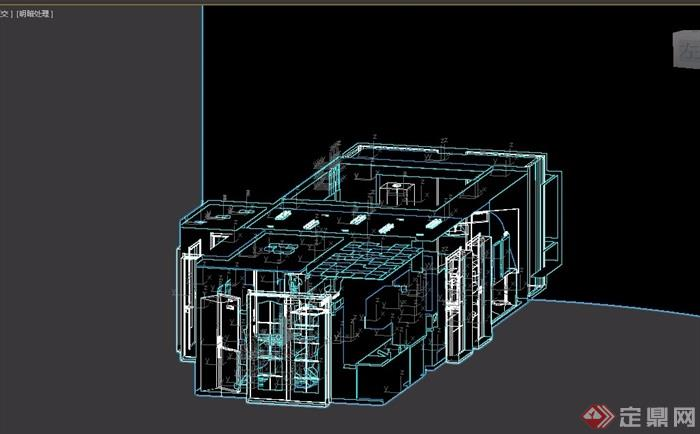 现代风格详细的完整住宅室内装饰3d模型及效果图
