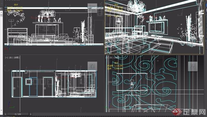 详细的住宅详细室内装饰空间3d模型