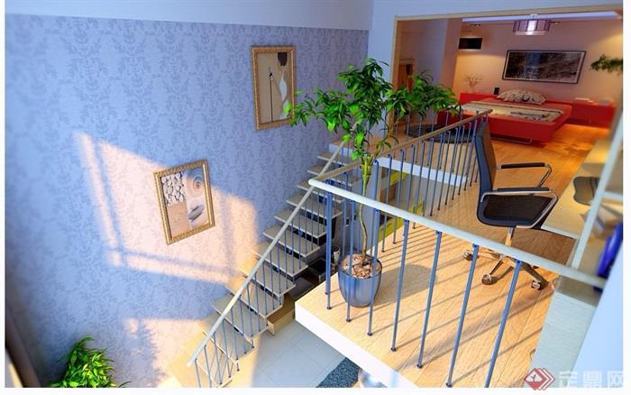 详细的跃层住宅室内装饰设计3d模型及效果图