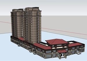会所详细住宅综合楼设计SU(草图大师)模型