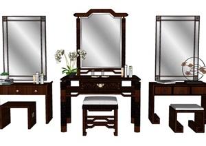 中式梳妆台化妆台组合SU(草图大师)模型