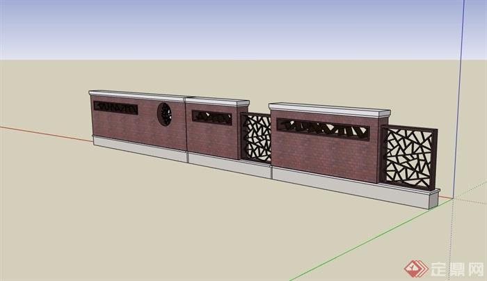 现代中式详细的围墙素材设计su模型