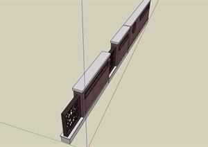 现代中式详细的围墙素材设计SU(草图大师)模型