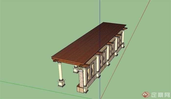园林景观节点欧式廊架素材设计su模型
