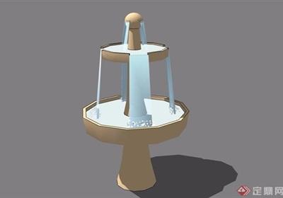 兩臺節點水缽素材設計su模型