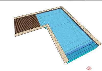 現代風格詳細的水池泳池設計su模型
