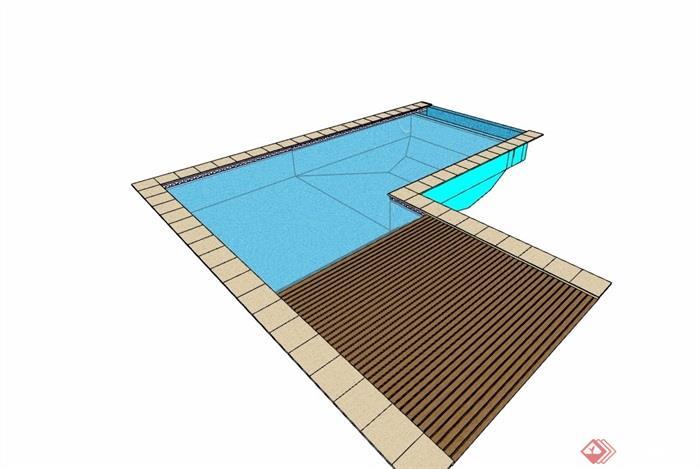 现代风格详细的水池泳池设计su模型