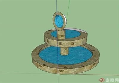 園林景觀詳細的水池景觀素材設計su模型