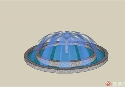 園林景觀圓形噴泉水池設計su模型
