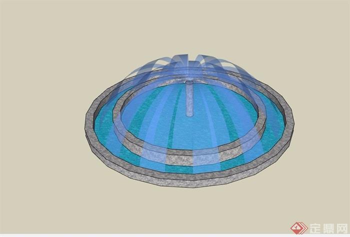 园林景观圆形喷泉水池设计su模型