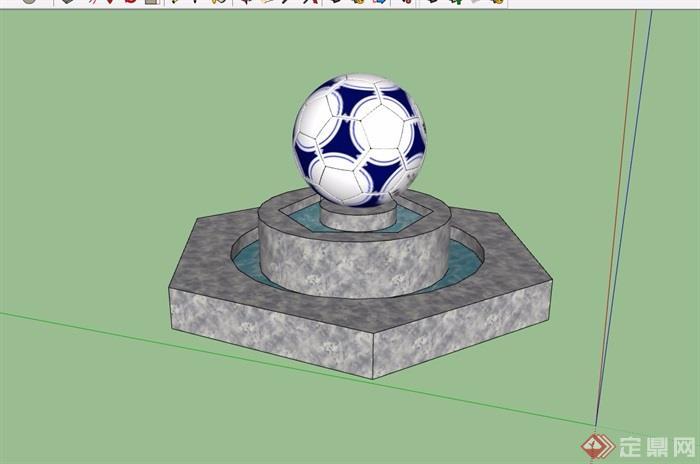 雕塑小品水池设计su模型