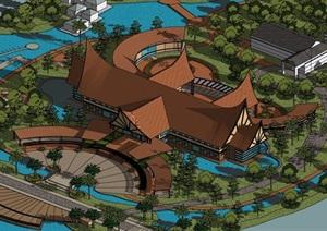 东南亚风格详细的经典完整会所设计SU(草图大师)模型