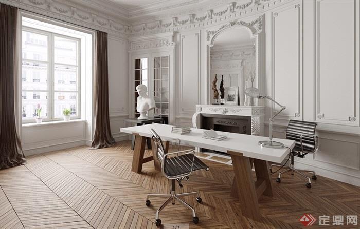 欧式详细的完整办公室3d模型及效果图