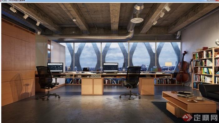 办公空间现代装饰设计3d模型及效果图