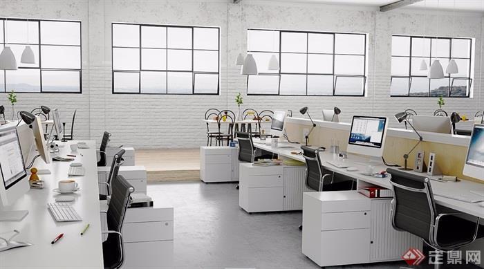 某整体详细的办公空间设计3d模型及效果图